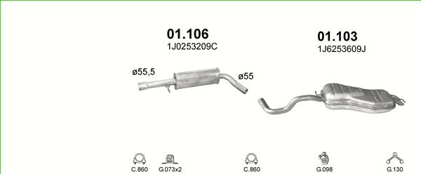 VW Bora 1.6 2.0 Auspuffanlage Auspuff Endtopf Mittelschalldämpfer