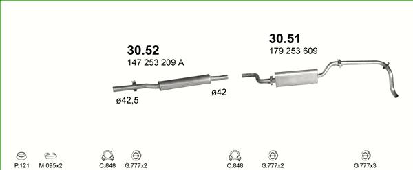 MONTAGESATZ für Auspuff VW Caddy 1 I 1.6 D