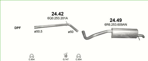 1.2 12V Auspuff Endtopf Abgasrohr für Skoda Fabia II Combi 1.2
