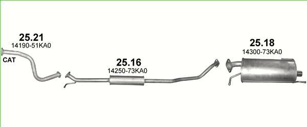 Opel Agila B 1.2 63//69 KW 86//94PS ab 2008 Auspuff Abgasanlage Schalldämpfer 0955