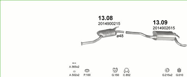 Auspuff MERCEDES 190 W201 2.5 TD Auspuffanlage 304