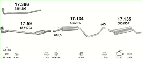 Montagesatz Auspuffanlage Opel Corsa C 1.0 Auspuff Mitteltopf /& Endtopf inkl