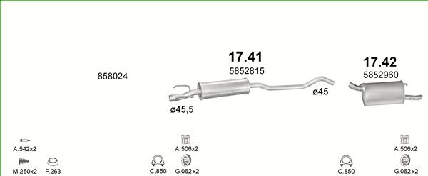 ab 98 Auspuff Auspuffanlage OPEL CORSA B 48 kW 65 PS