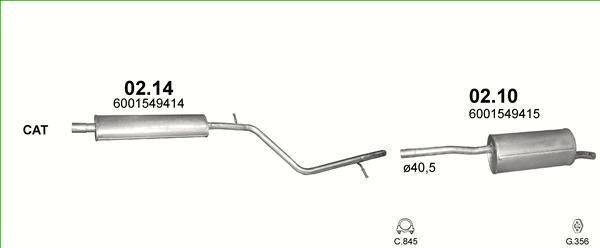 1.6 16V MITTELSCHALLDÄMPFER Auspuff Auspuffanlage Dacia Sandero Duster