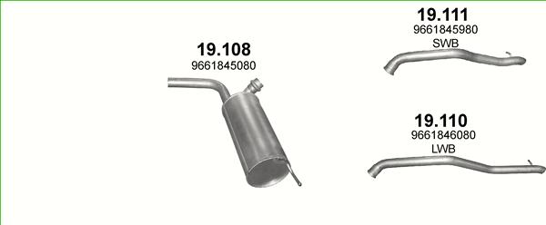 Auspuff Mittelschalldämpfer Citroen Jumpy 2.0 HDi 95 110 Schalldämpfer
