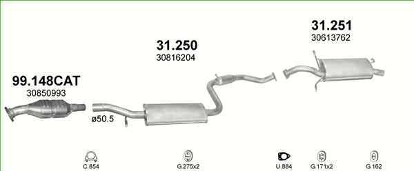 Volvo S40 V40 1.6 1.8 Mittelschalldämpfer Nachschalldämpfer Auspuff Abgasanlage