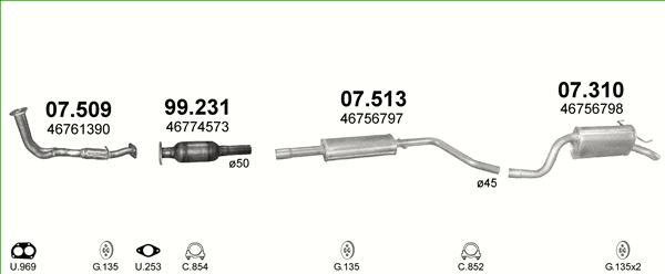 Endschalldämpfer Auspuff Fiat Punto 2 59kW Mittelschalldämpfer Montagesatz
