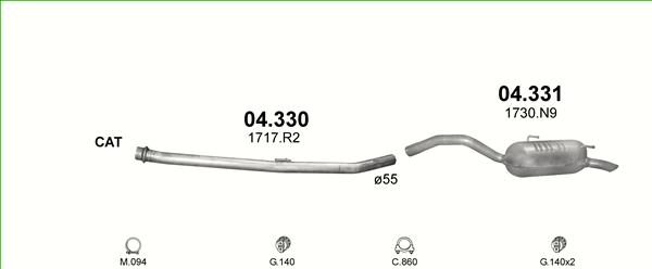 Auspuffanlage für Citroen C8 2.0 136PS