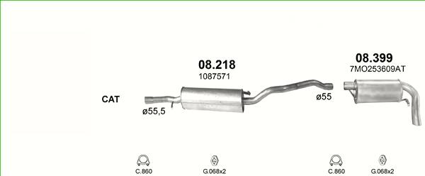 Auspuff VW Sharan 2.8 Mittelschalldämpfer+Montagesatz